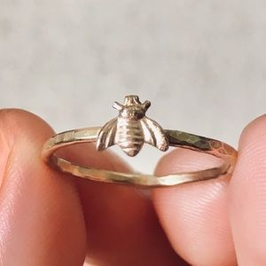 Jewelry - handcrafted gold honey bee stacking ring ✨